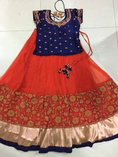 Red and Orange Net Skirt - Indian Dresses - pinku - Jupe Indian Dresses For Kids, Kids Indian Wear, Kids Ethnic Wear, Kids Dress Wear, Kids Gown, Kids Wear, Baby Girl Frocks, Frocks For Girls, Baby Frocks Designs