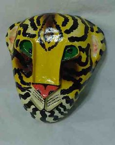 """Large Paper Mache TIGER MASK * Wall Hanging Decor * 12"""" x 13"""""""