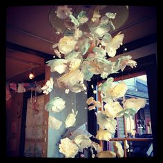 paper flowers - chandelier for stairway