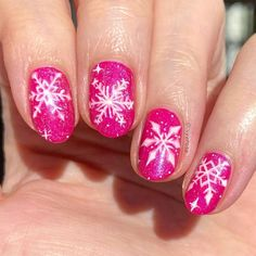 Snowflakes - I've been really into pink for this time of year!❄️ ‼️Check out my YouTube! - link is in bio‼️ . . . . . . . . #snowflakes… Christmas Manicure, Snowflakes, Nails, Link, Check, Youtube, Beauty, Finger Nails, Holiday Nails