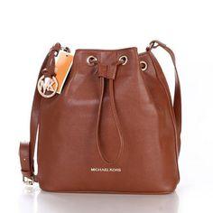 Michael Kors Jules Drawstring Logo Medium Brown Shoulder Bag