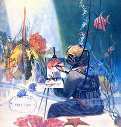 "The May 1922 cover of Scientific American, ""with waterproof paints and canvas: Painting a submarine scene at first hand"". ...Hollister and Crane continued to study sea creatures and dive in the bathysphere, and Bostelmann continued to paint in spite of these criticisms. #ScubaDivingInfographicsandQuotes"