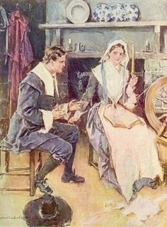 """The Courtship Of Miles Standish, the story of John Alden, Priscilla Mullins, and Miles Standish, is one of the favorite Thanksgiving stories, right up there with Squanto and the fish. It is found most completely in """"The Courtship of Miles Standish,"""" a long long poem by Henry Wadsworth Longfellow which few people read nowadays. …"""