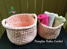 Crochet Nesting Baskets Set of 2 by PumpkinButterCrochet on Etsy