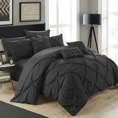 Chic Home Hannah 10-piece Bed in a Bag Set, Black