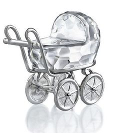 Swarovski Baby Carriage/Pram Rhodium and Crystal.  Swarovski Crystal Figurine.