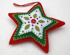 Felt Christmas ornament Red & Green heart by PuffinPatchwork