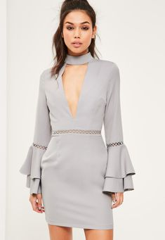Missguided - Grey Crepe Ladder Detail Flared Sleeve Bodycon Dress