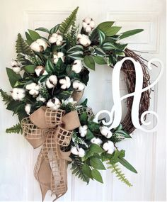 Excited to share this item from my #etsy shop: Cotton Wreath For Front Door, Farmhouse Wreath For Front Door, Personalized Wreath, Monogram Wreath, Cotton Wreath With Burlap Bow, Initial