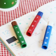 Mini Diary Stamp Stick| $9.95 - I want the office set... and maybe the food set too. They're cute.