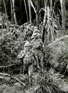 Dense jungles, like this one in which Australians are marching single file, cover about three-quarters of Malaya and lie between the Japanese and Singapore. The jungle is pitch black in spots. Battle Fight, Anzac Day, Royal Marines, Total War, Lest We Forget, Borneo, Military History, Armed Forces, World War Two