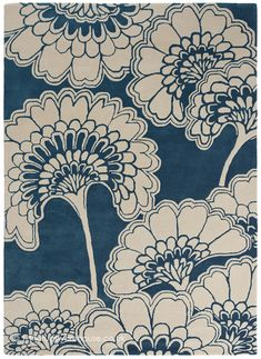 Shop Florence Broadhurst Rug Floral Midnight at Interiors Online. OFF First Order & Australia Wide Delivery Japanese Floral Design, Florence Broadhurst, Japanese Bamboo, Interiors Online, Hand Tufted Rugs, Floral Rug, Classic Elegance, Minion, Midnight Blue