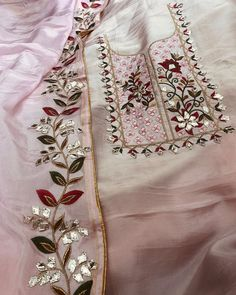 Trouser Suit For Girl Pant Trouser Suits Design Ladies Trouser Suits UK Trouser Suits Women Embroidery Suits Punjabi, Embroidery On Kurtis, Hand Embroidery Dress, Kurti Embroidery Design, Embroidery Neck Designs, Couture Embroidery, Embroidery Fashion, Embroidery Boutique, Beaded Embroidery