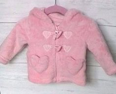 Baby Girls Pink Furry Hooded Coat 0-3 months Cotton Lining #TU #Coat