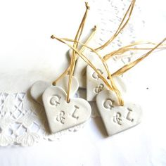 diy'able! Handmade heart clay decoration set of 6 glossy stamped font romantic personalized birthday wedding party home decor bride bridal. $17.00, via Etsy.