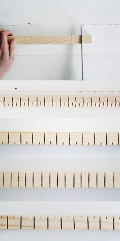 The genius of the heddle bar is in the way it moves alternative warp threads up from the work allowing the weave to build at a much quicker pace.