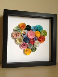 Colorful Paper Rose Heart, 3D Paper Art, Customize with your colors and personalize on Etsy, $45.00