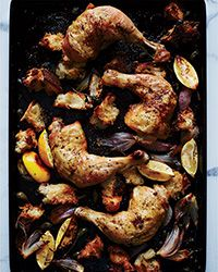Mmm …. —As these chicken legs roast, the torn pieces of bread underneath them absorb the rich and tangy juices and become deliciously crisp and chewy.