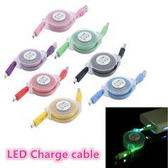 Ledライト耐久性micro usb cable充電器データ同期コード用samsungアンドロイド電話80センチ