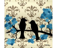 french LOVE BIRDS decor | SALE Love Birds Print Shabby Cottage Chic Decor 5 x by loriamckee