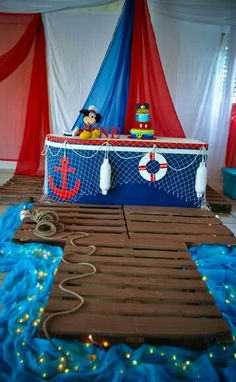 Mickey mouse nautical first birthday Mickey Birthday, Mickey Party, Pirate Party, Nautical Mickey, Nautical Party, Baby Shower Themes, Baby Boy Shower, Sailor Baby Showers, Sailor Party