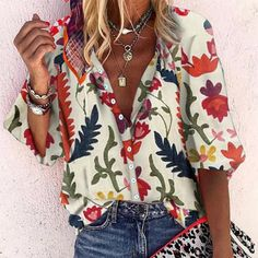 Casual Printed Colour Single Breasted Long Sleeve Loose Blouse – jollyluva shirts and sweaters outfit womens shirts fashion spring shirts blouses outfit fall t shirts and jeans Sexy Blouse, Online Shopping Stores, Half Sleeves, Short Sleeves, Single Breasted, Fashion Outfits, Fashion Advice, Fashion Ideas, Long Sleeve