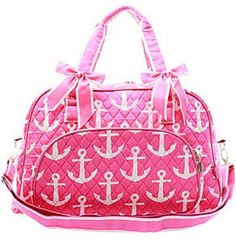 2612b2ec8336 Personalized Anchor Nautical Hot Pink Quilted Duffle Tote Bag - Gifts  Happen Here - 1