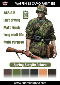 The Modelling News: A new SS Sturmmann, France 1940 & paint sets to shade them from Andrea Miniatures German Soldiers Ww2, German Army, Military Figures, Military Diorama, Military Paint, Bolt Action Miniatures, How To Paint Camo, German Uniforms, Camo