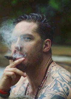 Tom Hardy smoking