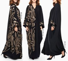 JUSNA EMBROIDERED OPEN ABAYA | This beautiful cape kimono has a duo look making it perfect for occasional wear. SImply add a pair of heels and a clutch, and you're ready to go! High quality Nida Open front design making this abaya nursing friendly Bronze embroidery to one side of the Abaya Wear closed as an abaya or gown, or wear open as a kimono to complete your outfit beautifully Matching hijab included, belt can be purchased seperately For more colours, please email us on info@HanaaCo...
