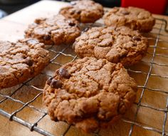 Annie's Hungry: Almond Butter and Chocolate Chip Cookies - Vegan. Doesn't call for lots of the special gf ingredients like most recipes. And the batter is delicious!!