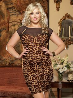 Plus Size Leopard Print Stretch Cap Sleeve Mini Dress with Sweetheart  Neckline Columbia Dresses b7450c94d