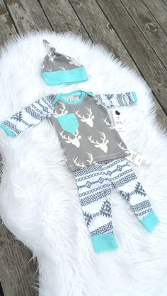 Baby boy outfit with hat set. Tribal antler. Deer. by BabyNell