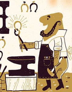 This is a close up of a blacksmith pounding a horseshoe. Hopefully he will have good luck in this ABC book, V is for Vittles by Greg Paprocki for BabyLit.