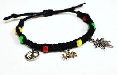 Jamaican Rasta Hemp Adjustable Bracelet with Peace, Love and Marijuana Leaf Charm Red, Green, Yellow beads and Black Hemp Rastafarian Colors