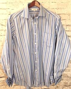 Faconnable Mens XL 17 Blue Stripe Dress Shirt Button Front French Cuff USA Made #Faonnable #FrenchCuff