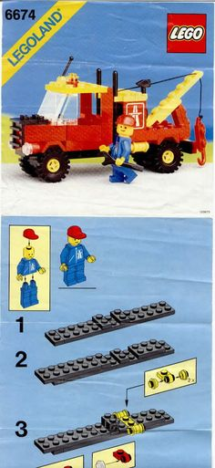 LEGO 6674 Crane Truck instructions displayed page by page to help you build this amazing LEGO City set Lego City Sets, Lego Sets, Lego Crane, Lego Machines, Vintage Lego, Lego Group, Lego Technic, Lego Instructions, Lego Creations