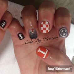 Tennessee nails; Vols; checkerboard; power t; smokey mountains; football. Instagram nails by Kristan