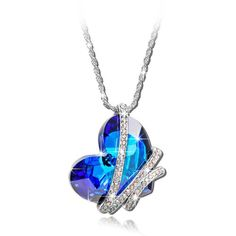 "【Deal of the Day】""Heart of the Ocean"" Blue SWAROVSKI ELEMENTS Crystal Heart Shape Pendant Women Necklace Fashion Party Jewelry"