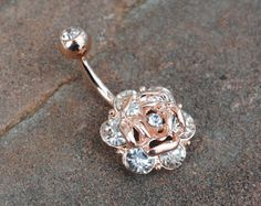 316L Surgical Steel Crystal Rose Belly Ring in Rose Gold