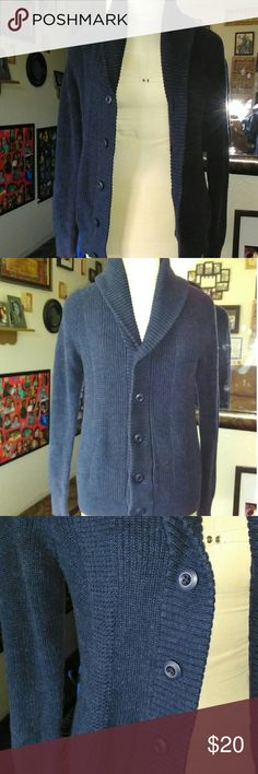 Express Small Crow Neck Button Up Sweater Super cute dark blue button up sweater.  Has crow neck. Has pockets.  Size is a small. Flat measurement of 17.5 inches from pit to pit. Express Sweaters Cowl & Turtlenecks