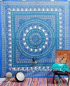 Blue Hippie Tapestry Wall Hanging Mandala Tapestries Wall Hanging Indian Wall Tapestries for Dorms, Bohemian Decor Queen Bedding, Large Tapestries Beach Blanket Jaipur Handloom