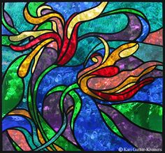 Abstract Stained Glass -- Birds of Paradise (Plant and Bird combo)