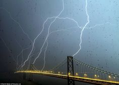 Lightning hitting the Bay Bridge last night