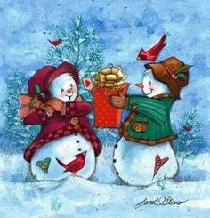 Christmas art, snowman art by renowned painter Janet Stever. Christmas Scenes, Christmas Snowman, Winter Christmas, All Things Christmas, Christmas Holidays, Christmas Crafts, Christmas Ornaments, Merry Christmas, Winter Snow