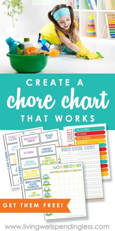 Are chores around your house well, a chore?  Don't miss these four simple steps you can take right now to create a chore chart that works.  This in-depth post even includes four different types of printable chore charts, plus a helpful list of age-appropriate chores! #ChoreCharts   #AgeAppropriateChores Allowance Chart, Chores And Allowance, Allowance For Kids, Printable Chore Chart, Chore Chart Kids, Kids Schedule Chart, Free Printables, Family Chore Charts, Teaching Tools