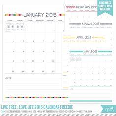 Livre vivo: Love Life 2015 Calendários - Printables GRÁTIS! | MissTiina.com {Blog}