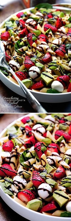 Strawberry Caprese Pasta Salad - Made with a homemade balsamic glaze, this salad is to die for! #pastasalad #capresepastasalad #balsamicglaze | http://Littlespicejar.com