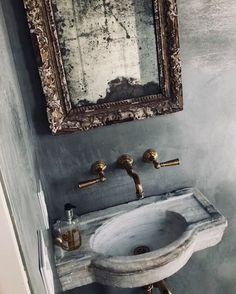 gorgeous marble sink in a powder bath Drop In Bathroom Sinks, Modern Bathroom, Sinks For Small Bathrooms, Garage Bathroom, Bathroom Plumbing, Classic Bathroom, Downstairs Bathroom, Bad Inspiration, Bathroom Inspiration