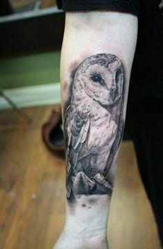 BlackAndGrey Owl Tattoo